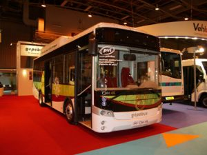 PVI exhibited this all-electric midibus. Otokar build the structure in Turkey and the electronics are French.