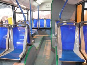 A novel seating layout in the articulated hybrid city bus from Solaris.