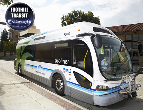 The Proterra EcoRide BE35 was dubbed the Ecoliner by Foothill Transit.
