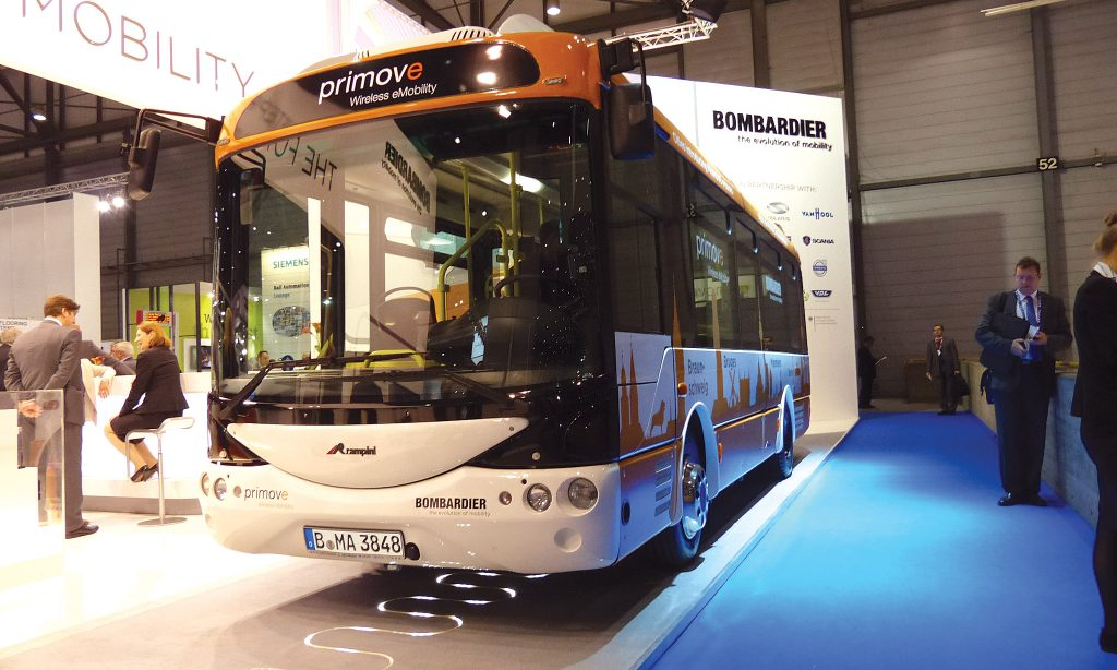 Bombardier showed its inductive charging system under a Rampini electric midibus.