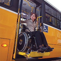 Subject: Lift-equipped bus for wheelchairs users, with exclusive space inside the vehicle / Place: Rio de Janeiro city - Rio de Janeiro state - Brazil / Date: 06/2010
