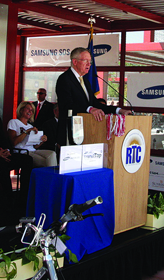 Above: Senator Harry Reid speaks at the unveiling of RTC's University of Las Vegas transit center. Samsung SDS was on-hand to celebrate the event.