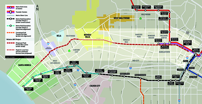 Proposed Wilshire Bus Rapid Transit Project includes Los Angeles' first two BRT corridors on Wilshire Boulevard.