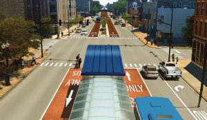 Rendering of BRT along Ashland Avenue on Chicago's west side.
