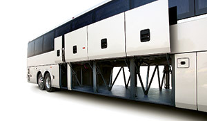 The 57-passenger coach features Temsa's trademark stainless steel integral monocoque frame.