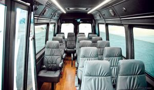 The Meridian Sprinter product features 12 standard floor plans, which the company can outfit with up to 140 legal seating configurations and 110 option-content selections.