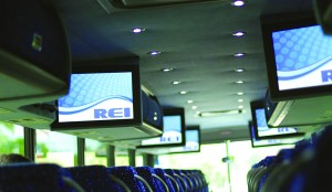 REI provides A/V entertainment on the Van Hool CX.