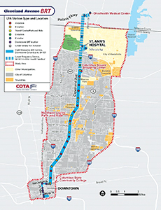 COTA began working on BRT/Enhanced Bus Service In 2010 to Cleveland Avenue, one of Columbus' busiest corridors.