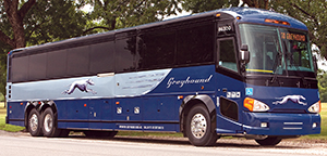 Greyhound converted two buses, one MCI and one Prevost, into mobile museums, simultaneously moving across the United States and visiting nearly 40 cities.
