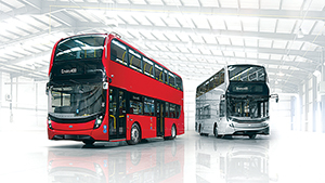 Two new Enviro400 buses. The silver model is built to a lower height.