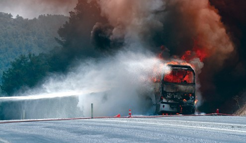 Without a proper fire suppression system, a small bus fire can quickly become a disaster.