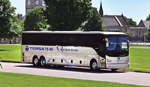 The 45-foot, 56-passenger coach up for review features Temsa's hallmark stainless steel integral monocoque construction. The powertrain is a 425 HP ISX Cummins engine and B500 Generation 5 Allison transmission.