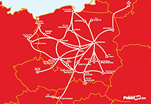 The PolskiBus.com network with the latest route additions.