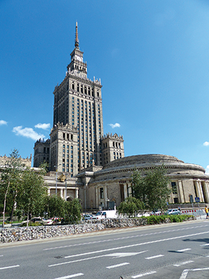 The launch was held in front of the Palace of Culture, a gift from Stalin to the people of Poland.