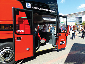 The double-width front door. The single seat can be removed to locate a passenger in a wheelchair.