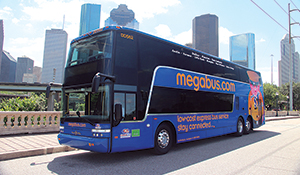 The megabus.com double-decker coaches are cost and fuel efficient.
