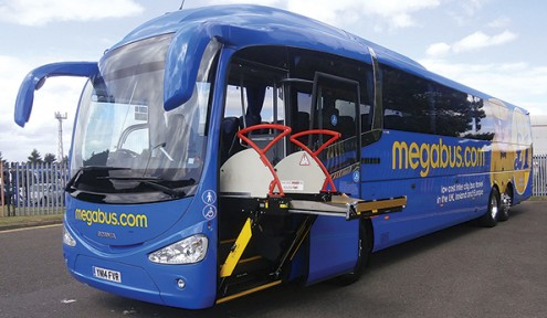 A Scania Irizar coach on demonstration with megabus.com. Note the wheelchair lift that fits inside the front entrance. It is stored under the staircase when not in use.