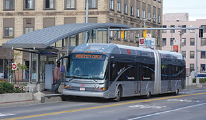 The Cleveland HealthLine BRT system gets its moniker through a naming rights partnership with the Cleveland Clinic and University Hospitals — the two major locations in the Euclid Avenue BRT Corridor.