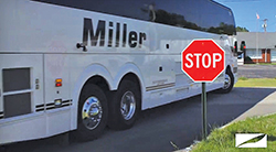 Ensure that your rear axle is up far enough to keep your bus from pinching objects on your right once the bus begins to pivot to the right.