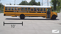 The part of the bus between the rear axle and rear of the bus is commonly referred to as the tail swing. The tail swing can be 10 feet or more on a standard school bus and almost as much on a motorcoach.