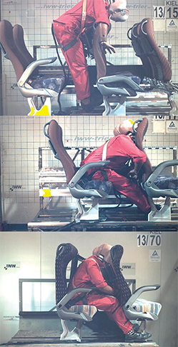 Test dummies in the top two stills are wearing no seat belts (15) and lap belts only (17). A three-point-belt combined with the controlled warp of the seat's back reduces the risk of injuries greatly for passengers in the front and back seat (70).