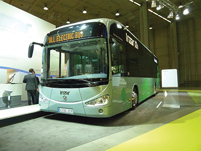 The attractively styled i2e all-electric bus from Irizar.