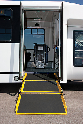 A uniformly-sloped entry ramp on an accessible vehicle eliminates the need for hazardous interior steps and cumbersome lifts.