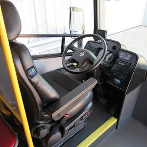 The driver's area features ample legroom and a clear view through the windshield.