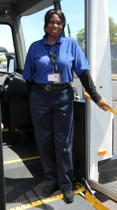 Catherine Kadrich, a veteran paratransit driver for MV Transportation, took the wheel for a third-party review of the Spirit of Liberty.
