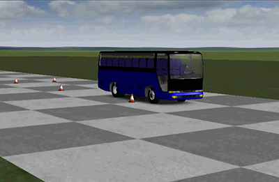 A virtual bus performs a lane-change maneuver using Hendrickson's advanced simulation software. Before building physical parts, this unique software allows the company to understand how a vehicle will behave in key performance areas like ride quality, roll stability and vehicle handling.