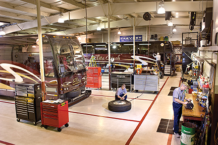 The Elite Coach maintenance facility has grown into a fully equipped, fully-staffed shop and parts department.