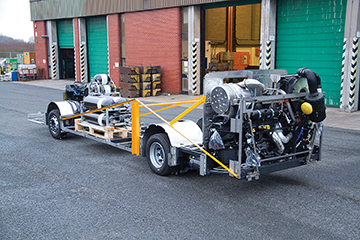 A view of the chassis from the rear looking forward.