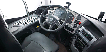 The ergonomic driver cockpit of the i6 features integrated dashboard screens and a Bosch audio and video system.