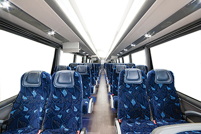 The interior of the Irizar i6 is as unique and elegant as the exterior design.