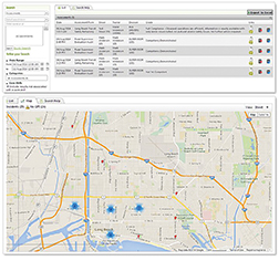 GPS data, pictured here with Trackit Manager, can be very useful when tracking safety incidents.