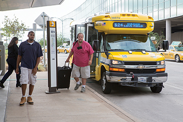 DART's fleet of smaller ARBOC low-floor buses complements its level-customer boarding initiative found throughout both the DART light-rail and fixed route bus network.
