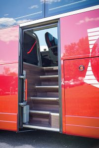 DATTCO is excited to be among the first operators to introduce Van Hool coaches with a second, mid-ship entry door. Popular in Europe for many years, the second door greatly reduces the time spent loading or unloading the coach during tour stops, allowing passengers to spend more time sightseeing or visiting attractions. The stepwell also affords the opportunity to relocate the lavatory to the lower level opening the rear of the coach up for 360 degree viewing by passengers.
