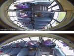 "The top image displays how the 360° camera initially records video with a ""warped"" or fisheye lens. When played back in SafetyView PRO, the bottom image is ""dewarped"" and the expansive view can be panned like a panoramic photograph."