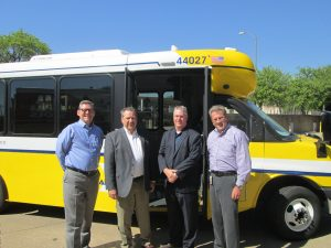 Pictured Left to Right: R.K. (Rocky) Rogers, Assistant Vice President of Technical Services - Dallas Area Rapid Transit Don Roberts, President & CEO - ARBOC Specialty Vehicles LLC Ryan Frost, General Manager - Creative Bus Sales in Texas Michael C. Hubbell, Vice President of Maintenance - Dallas Dart