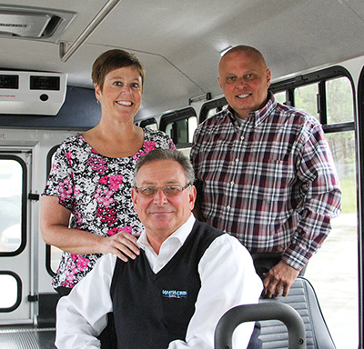 Clockwise from left: Lisa Aulick, director of accessible services for Access; Mike Roth, district manager of MV Transportation; Kevin Whitworth, president and CEO of Whitworth Bus Sales.