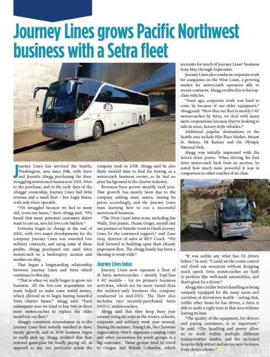 Journey Lines grows Pacific Northwest business with Setra fleet