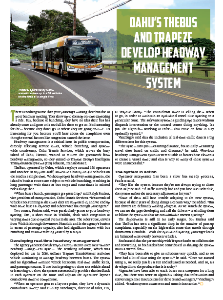 Oahu's TheBus and Trapeze develop headway management system