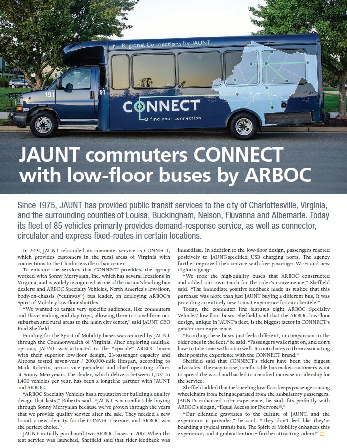 JAUNT commuters CONNECT with ARBOC low-floors